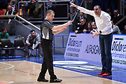 Alessandro Martolini arbitro, Vincenzo Esposito<br /> Virtus Segafredo Bologna - The Flexx Pistoia<br /> LegaBasket Serie A 2017/2018<br /> Bologna, 02/01/2018<br /> Foto M.Ceretti / Ciamillo - Castoria