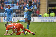 Coventry City forward (on loan from Wolverhampton Wanderers) Bright Enobakhare (24) has eyes on the ball during the EFL Sky Bet League 1 match between Coventry City and Shrewsbury Town at the Ricoh Arena, Coventry, England on 28 April 2019.
