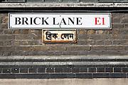 Brick Lane London E1 street sign in English and Bengali languages