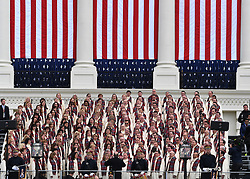 """The Mormon Tabernacle Choir sings """"America the Beautiful"""" during the Inauguration Ceremony of President Donald Trump on the West Front of the U.S. Capitol on January 20, 2017 in Washington, D.C. Trump became the 45th President of the United States. Photo by Pat Benic/UPI"""