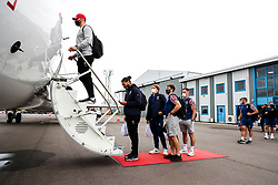 Dave Attwood and Chris Vui as Bristol Bears board the plane to Marseille ahead of their Challenge Cup Final in France - Rogan/JMP - 15/10/2020 - RUGBY UNION - Bristol Airport - Bristol, England - Toulon v Bristol Bears - European Rugby Challenge Cup Final.