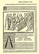 Birth of Julius Caesar (c100-44 BC) by caesarian section. From Filippion Beroaldo's (1453-1505) edition of Seutonius 'Lives of the  Caesars' which repeated the legend of Caesar's birth.