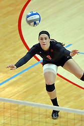 28 September 2014:  Emily Orrick during an NCAA womens volleyball match between the Evansville Purple Aces and the Illinois State Redbirds at Redbird Arena in Normal IL