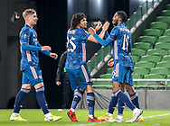 Eddie Nketiah of Arsenal celebrates his goal with Mohamed Elneny, Ainsley Maitland-Niles and Emile SmithRowe  during the Europa League Group B match between Dundalk and Arsenal at Aviva Stadium, Dublin, Republic of Ireland on 10 December 2020.