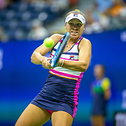 2019 US Open Tennis Tournament- Day Five.  Sofia Kenin of the United States in action against Madison Keys of the United States in the Women's Singles Round three match on Arthur Ashe Stadium during the 2019 US Open Tennis Tournament at the USTA Billie Jean King National Tennis Center on August 30th, 2019 in Flushing, Queens, New York City.  (Photo by Tim Clayton/Corbis via Getty Images)