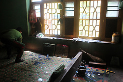 May 4, 2017 - Shopian, Jammu & Kashmir, India - Forces barged into the kitchen of  house, smashed window panes and broke admirals and destroyed kitchen accessories during a massive Search operation to flush out militants holed up inside homes. (Credit Image: © Muneeb Ul Islam/Pacific Press via ZUMA Wire)
