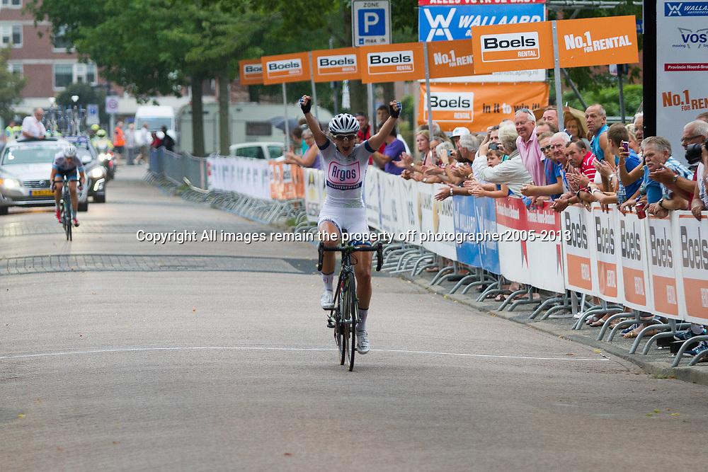 Boels Rental Ladiestour 2013 Papendrecht Elke Gebhart wins stage after a 105km breakaway with Vera Koedooder