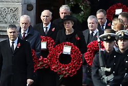Labour leader Jeremy Corbyn (2nd left) and Prime Minister Theresa May (centre) during the remembrance service at the Cenotaph memorial in Whitehall, central London, on the 100th anniversary of the signing of the Armistice which marked the end of the First World War.