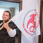 CAPTION: Svetlana is a leading activist in the arena of rights for disabled children and their parents. She started the Mothers of the World network, which now has well over 2,000 members across Russia. They meet once a month, support parents in writing letters and organise May Day demonstrations. Everything is on a voluntary basis. LOCATION: St Petersburg, Russia. INDIVIDUAL(S) PHOTOGRAPHED: Svetlana Guseva.