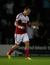 Fulham's John Arne Riise celebrates his winning penalty - Photo mandatory by-line: Matt Bunn/JMP - Tel: Mobile: 07966 386802 27/08/2013 - SPORT - FOOTBALL - Pirelli Stadium - Burton - Burton Albion V Fulham -  Capital One Cup - Round 2