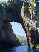 Archway Island. View of Poor Knights Islands, summer, Northland, New Zealand