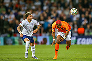 England defender Kyle Walker (Manchester City) tussles with Netherlands forward Ryan Babel (Fulham) during the UEFA Nations League semi-final match between Netherlands and England at Estadio D. Afonso Henriques, Guimaraes, Portugal on 6 June 2019.