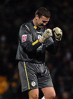 Photo: Ashley Pickering.<br />Norwich City v Sheffield Wednesday. Coca Cola Championship. 09/12/2006.<br />Sheffield goalie, Mark Crossley celebrates Dion Burton's goal (Sheffield's second)