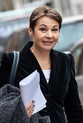 © Licensed to London News Pictures. 11/01/2019. London, UK. Co-leader of the Green party Caroline Lucas leaves after speaking at a convention for second EU referendum, organised by 'Another Vote is Possible', a pro-EU organisation. MPs are currently debating British Prime Minister Theresa May's EU withdrawal deal, with a vote on the deal due to take place on 15th January. Photo credit : Tom Nicholson/LNP