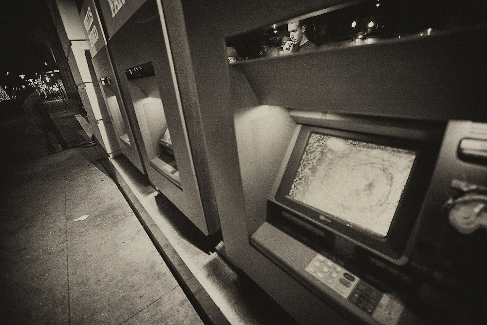 ATM machines are seen vandalized in Oakland.