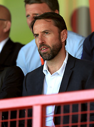 England manager Gareth Southgate during the UEFA European U17 Championship, Group A match at Banks's Stadium, Walsall. PRESS ASSOCIATION Photo. Picture date: Monday May 7, 2018. See PA story SOCCER England U17. Photo credit should read: Mike Egerton/PA Wire. RESTRICTIONS: Editorial use only. No commercial use.