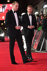 The Duke of Cambridge and Prince Harry attend the European premiere of Star Wars: The Last Jedi, at the Royal Albert Hall in London.