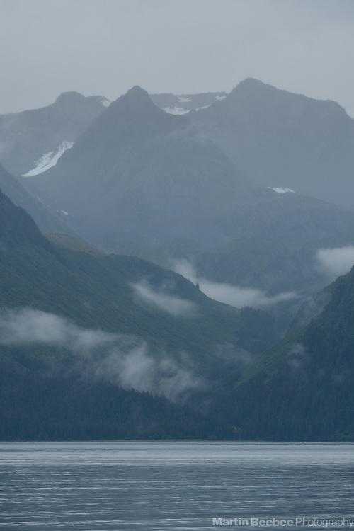 Mist and mountains above Resurrection Bay, Seward, Alaska