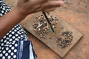 Surui woman making beads for traditional and tourist neclaces,<br /><br />An Amazonian tribal chief Almir Narayamogo, leader of 1350 Surui Indians in Rondônia, near Cacaol, Brazil, with a $100,000 bounty on his head, is fighting for the survival of his people and their forest, and using the world's modern hi-tech tools; computers, smartphones, Google Earth and digital forestry surveillance. So far their fight has been very effective, leading to a most promising and novel result. In 2013, Almir Narayamogo, led his people to be the first and unique indigenous tribe in the world to manage their own REDD+ carbon project and sell carbon credits to the industrial world. By marketing the CO2 capacity of 250 000 hectares of their virgin forest, the forty year old Surui, has ensured the preservation, as well as a future of his community. <br /><br />In 2009, the four clans and 25 Surui villages voted in favour of a total moratorium on logging and the carbon credits project. <br /><br />They still face deforestation problems, such as illegal logging, and gold mining which causes pollution of their river systems