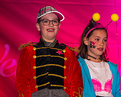 Pictured: Moonwalk Scotland, Edinburgh, Scotland, United Kingdom, 08 June 2019. The 14th Moonwalk Scotland 'Walk the Walk' night-time event with several thousand participants wearing specially decorated bras with a circus theme to raise money  and awareness for breast cancer causes. Children particpating in the event.<br /> Sally Anderson   EdinburghElitemedia.co.uk