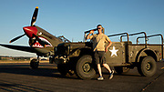 Old Army truck and P-40E Warhawk at Warbirds Over the West.