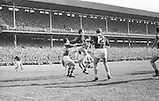 All Ireland Senior Football Championship Final, Kerry v Galway, 27.09.1964, 09.27.1964, 27th September 1964, Galway 0-15 Kerry 0-10, 27091964AISFCF,...Galway full back muscels out to clear from a Kerry attack at the begining of the second half...27.9.1964  27th September 1964..All Ireland SFC - Final.Galway 0-15 | Kerry 0-10.Time: Unknown, Venue: Croke Park.Referee: J. Hatton (Wicklow).Captain: J. Donnellan..Attendance: 76,498