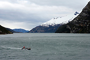Zodiacs in Beagle Channel, Patagonia, Chile