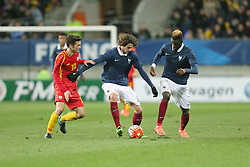 28.03.2016, Stade Mmarena, Le Mans, FRA, UEFA U21 Euro Qualifikation, Frankreich vs Mazedonien, Gruppe 3, im Bild babunski david, rabiot adrien, bakayoko tiemoue // during the UEFA U21 Euro qualifier group 3 match between France and Macedonia at the Stade Mmarena in Le Mans, France on 2016/03/28. EXPA Pictures © 2016, PhotoCredit: EXPA/ Pressesports/ Vincent Michel<br /> <br /> *****ATTENTION - for AUT, SLO, CRO, SRB, BIH, MAZ, POL only*****