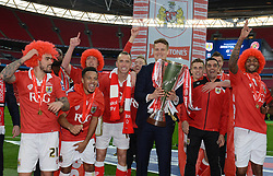 Bristol City players celebrate the win against Walsall in the Johnstone Paint Trophy final - Photo mandatory by-line: Dougie Allward/JMP - Mobile: 07966 386802 - 22/03/2015 - SPORT - Football - London - Wembley Stadium - Bristol City v Walsall - Johnstone Paint Trophy Final