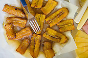A breakfast of plantains at Bungalow Hotel in Mancapuru, Brazil.