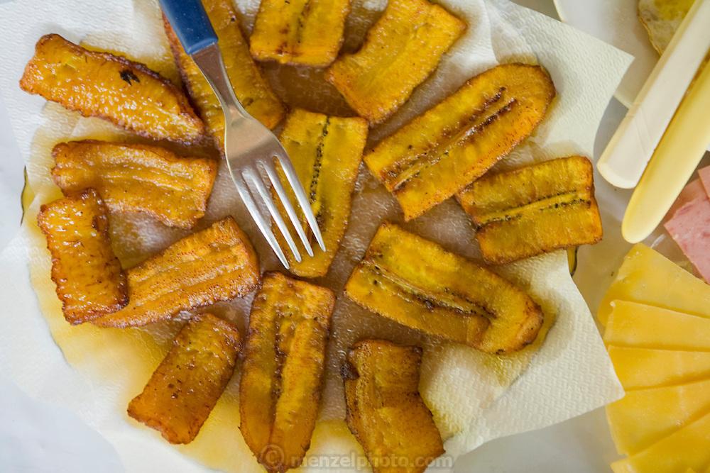 A breakfast of plantains at Bungalow Hotel in Mancapuru, Brazil.