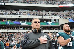 Philadelphia Eagles offensive line coach Jeff Stoutland before the game against the Tampa Bay Buccaneers at Lincoln Financial Field on Nov 22, 2014 in Philadelphia, Pa. (Photo by John Geliebter/Philadelphia Eagles)