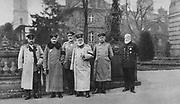 World War I 1914-1918:  Visit of King of Bavaria to the German Headquarters, 1917.  From left: Hindenburg, Emperor Wilhelm II, Chancellor Bethmann-Hollweg, Ludwig III last King of Bavaria, Ludendorff,  and Admiral Holtzendorff.