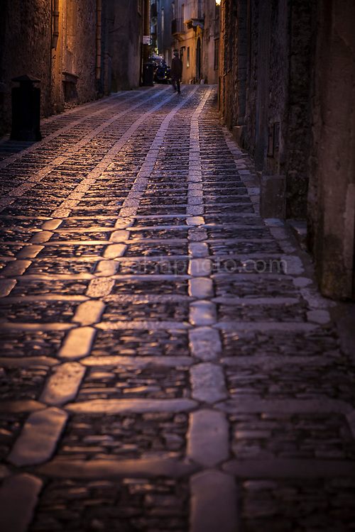 Street view in the ancient city of Erice, Sicily, Italy.