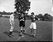 05/06/1955<br /> 06/05/1955<br /> 05 June 1955<br /> F.A.I. Minor Cup Final, Tower Rovers v Drumcondra at Whitehall, Dublin. Captains and referee before kick off.