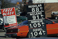 Gas prices in Eastern Maryland in 1986..Photograph by Dennis Brack bb32