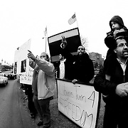 Libyan and Arab American community in Kansas CIty and the region protest against Muammar Ghaddafi on February 19, 2011.