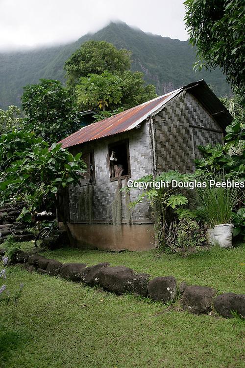 Thatched house, Hanavave, Island of Fatu Hiva, Marquesas Islands, French Polynesia<br />