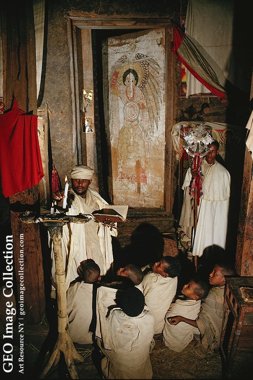 Worship service at one of the thirteen rock-hewn churches in Lalibela.