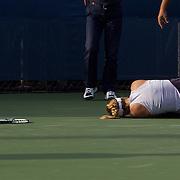 Sabine Lisicki, Germany, injured while losing on match point to Anastasia Rodionova, Australia, during the US Open Tennis Tournament at Flushing Meadows, New York, USA, on Thursday September 3, 2009. Photo Tim Clayton..