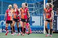 UTRECHT - HOCKEY -  Jill Boon (Oranje-Rood) (m) heeft gescoord  tijdens  de hoofdklasse hockeywedstrijd dames Kampong-Oranje-Rood (0-5) . rechts Yibbi Jansen (Oranje-Rood) . COPYRIGHT KOEN SUYK