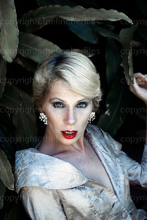 American model, actress and journalist, Angie Bowie and ex wife of David Bowie photographed at her home in Sacramento, California USA in 1979. Photo by Terry Fincher.