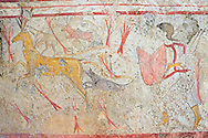 Lucanian fresco tomb painting of a man hunting. Paestrum, Andriuolo. Tomb n. 18.  (370-360 BC) .<br /> <br /> If you prefer to buy from our ALAMY PHOTO LIBRARY  Collection visit : https://www.alamy.com/portfolio/paul-williams-funkystock - Scroll down and type - Paestum Fresco - into LOWER search box. {TIP - Refine search by adding a background colour as well}.<br /> <br /> Visit our ANCIENT GREEKS PHOTO COLLECTIONS for more photos to download or buy as wall art prints https://funkystock.photoshelter.com/gallery-collection/Ancient-Greeks-Art-Artefacts-Antiquities-Historic-Sites/C00004CnMmq_Xllw