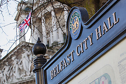 © Licensed to London News Pictures . 09/01/2013 . Belfast , UK . The Union Jack flag is flown at Belfast City Hall today (9th January 2013) to mark the Duchess of Cambridge's 31st birthday . On 3rd December , councillors voted to limit the number of days the flag would be flown , sparking weeks of violence . Photo credit : Joel Goodman/LNP