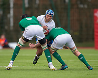 Italy's Gianmarco Lucchesi is tackled by ' Ireland's Tom Ahern and Cian Hurley<br /> <br /> Photographer Bob Bradford/CameraSport<br /> <br /> The 2018 U18 6 Nations Festival - Ireland U18 v Italy U18 - Saturday 31st March 2018 - CCB Centre for Sporting Excellence, Ystrad Mynach Hengoed <br /> <br /> World Copyright © 2018 CameraSport. All rights reserved. 43 Linden Ave. Countesthorpe. Leicester. England. LE8 5PG - Tel: +44 (0) 116 277 4147 - admin@camerasport.com - www.camerasport.com