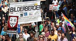 13.06.2015, Telfs, AUT, Demonstration gegen die Bilderbergkonferenz, im Bild ein Übersicht // a overview during a demonstration agiainst the bilderberg group in Telfs, Austria on 2015/06/13. EXPA Pictures © 2015, PhotoCredit: EXPA/ Jakob Gruber