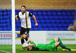 Bristol Rovers' Tom Parkes celebrates his goal, while its despair for Chester's Jon Worsnop - Photo mandatory by-line: Neil Brookman/JMP - Mobile: 07966 386802 - 22/11/2014 - Sport - Football - Chester - Deva Stadium - Chester v Bristol Rovers - Vanarama Football Conference