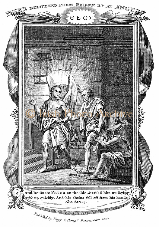 Angel delivering St Peter from prison while the soldiers sleep. 'Bible' Acts 112:7. Copperplate engraving c1808