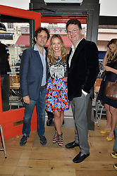 Left to right, MATT HERMER, MARISSA HERMER and EWAN VENTERS at a party to celebrate the launch of Top Dog at 48 Frith Street, Soho, London on 27th May 2015