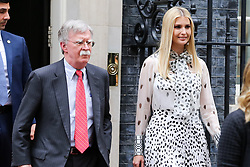 © Licensed to London News Pictures. 04/06/2019. London, UK. John Bolton, US National Security Advisor (L), and Ivanka Trump (R) leave 10 Downing Street for the Foreign and Commonwealth Office for a joint press conference on the second day of the State Visit. Photo credit: Dinendra Haria/LNP